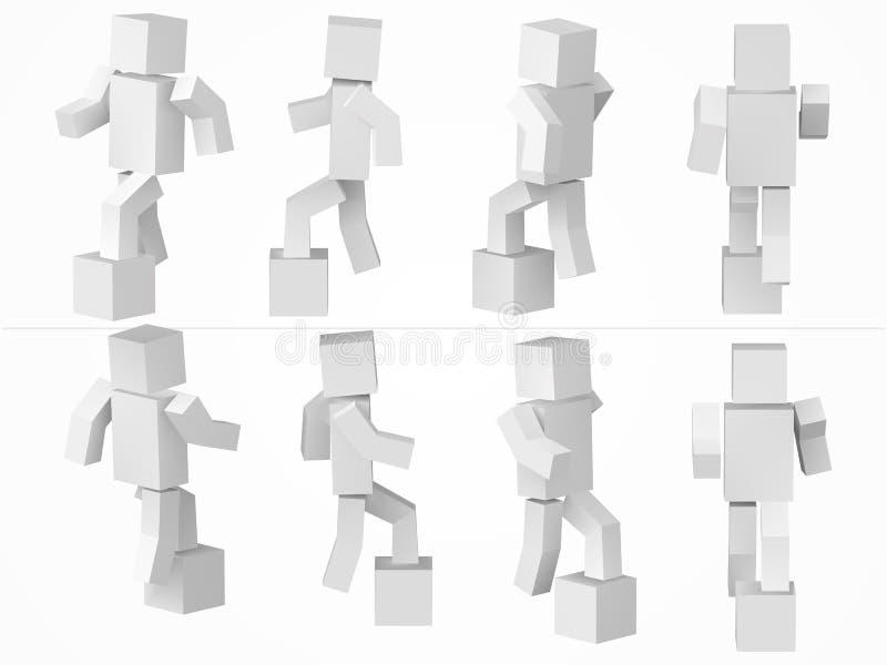 上升一个立方体的字符装箱 3d样式简单的立方体字符例证 库存例证