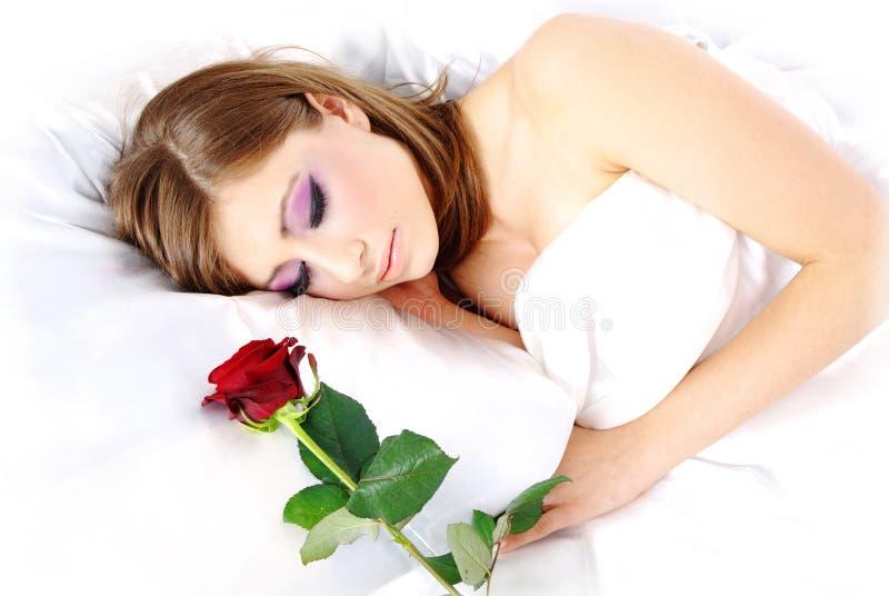 上升了休眠的妇女 免版税图库摄影