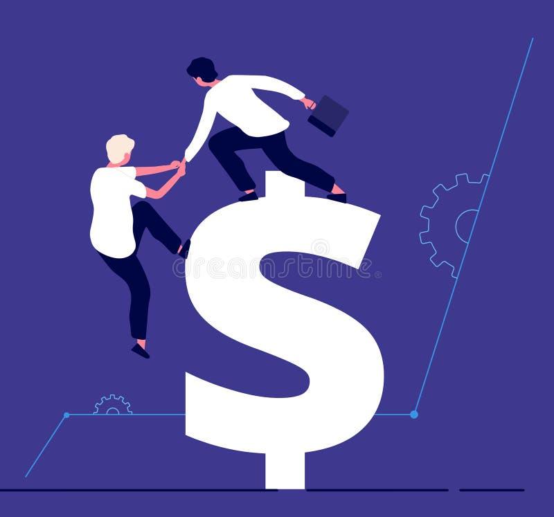 上升到美元的商人 投资支持、生产力提高和成功的队企业传染媒介概念 向量例证