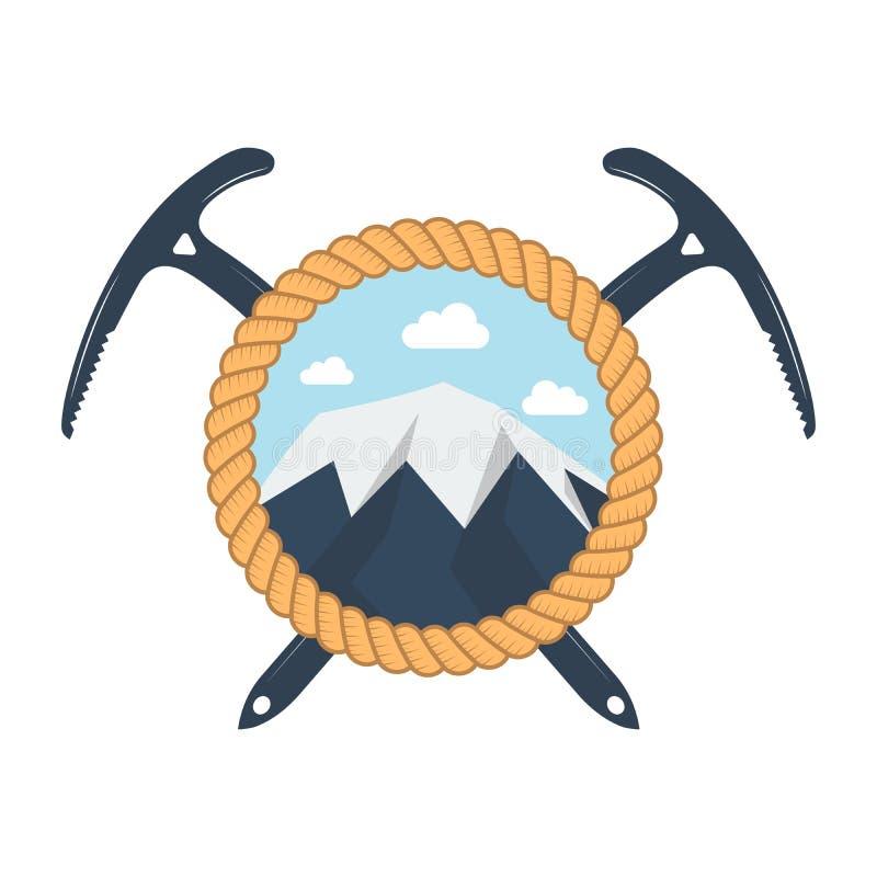 上升和登山俱乐部徽章 商标、印刷品或者邮票的概念 上升和登山的横渡的冰斧 向量例证