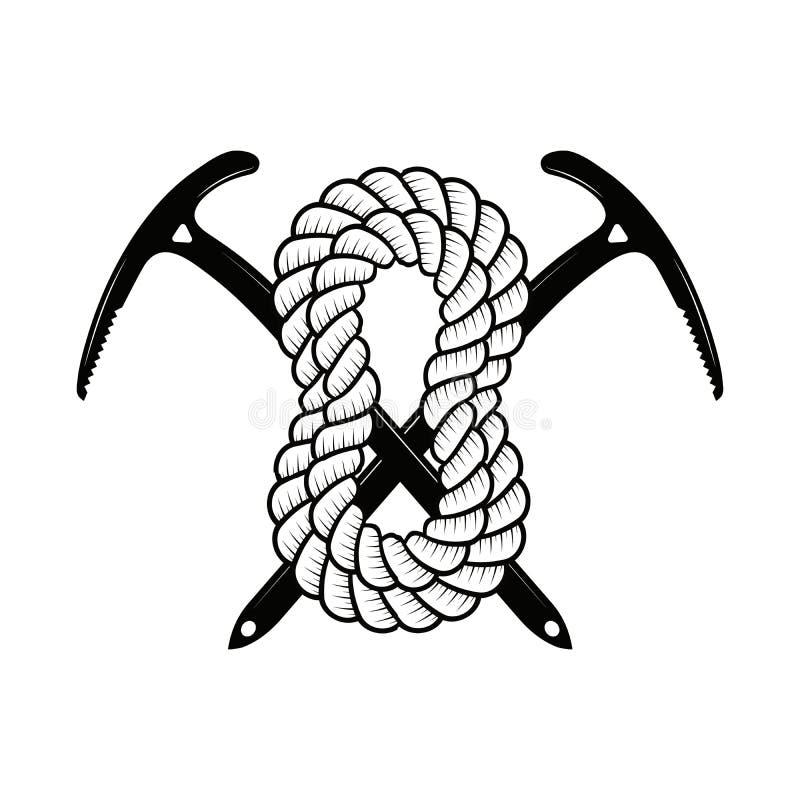 上升和登山俱乐部徽章 商标、印刷品或者邮票的概念 上升和登山的横渡的冰斧 皇族释放例证