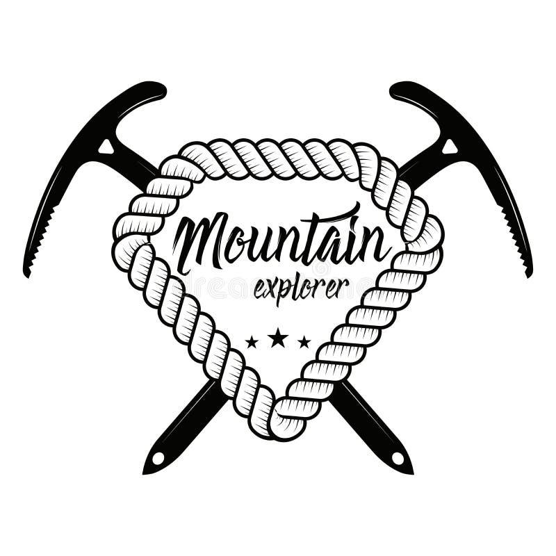 上升和登山俱乐部徽章 商标、印刷品或者邮票的概念 上升和登山的横渡的冰斧 库存例证