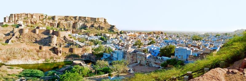 乔德普尔城蓝色城市,拉贾斯坦印度 库存图片