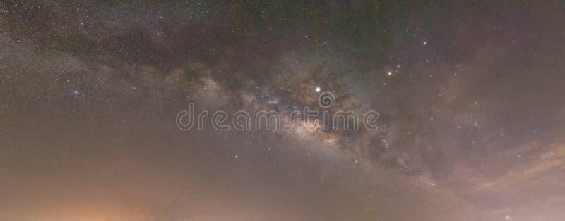 上升在天空和的银河与地面平行 库存照片