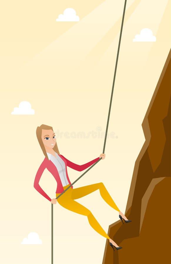 上升在山的女商人 向量例证