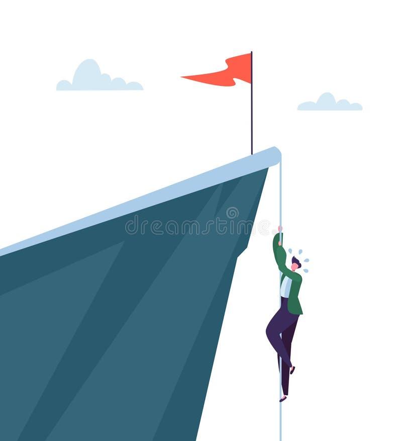 上升在山采撷的商人  设法企业的字符得到顶面 目标成就,领导,刺激 皇族释放例证