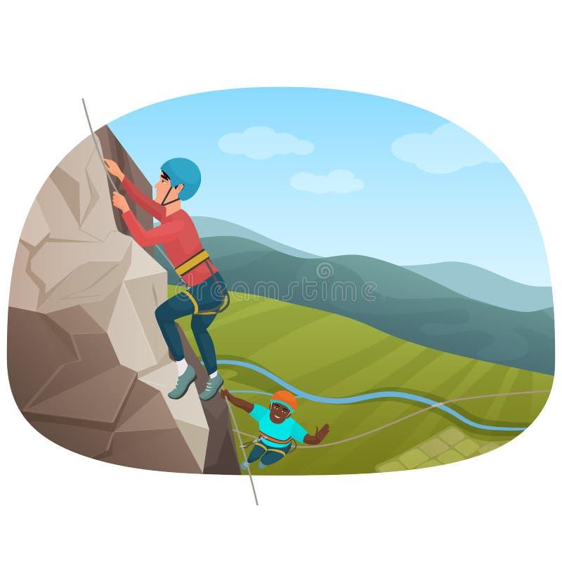 上升在岩石的两个多种族登山人导航例证 库存例证