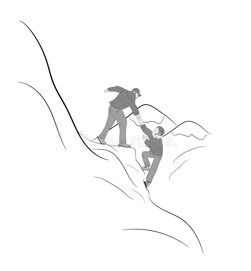 上升在岩石,山,他们中的一个的远足者给手和帮助上升 帮助,支持,在一危险situatio的协助 向量例证