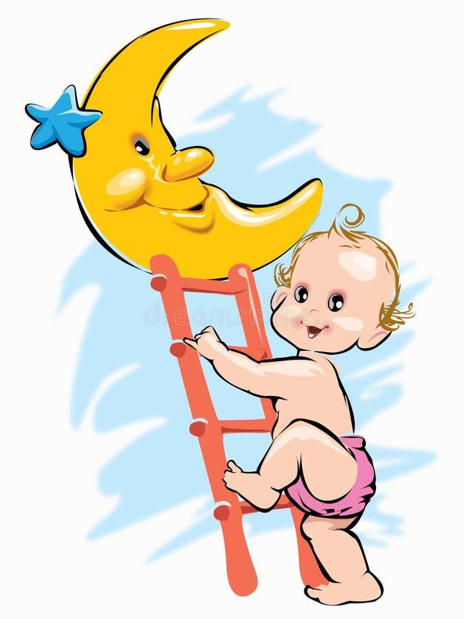 上升在月亮的婴孩在晚上通过梯子 免版税库存图片