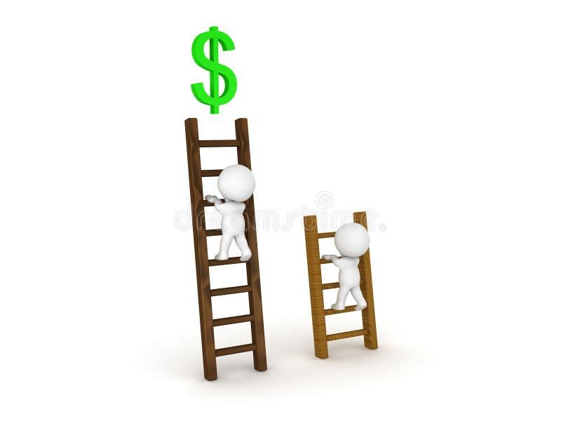 上升在梯子的不同的类型的两个3D字符与a的 库存例证