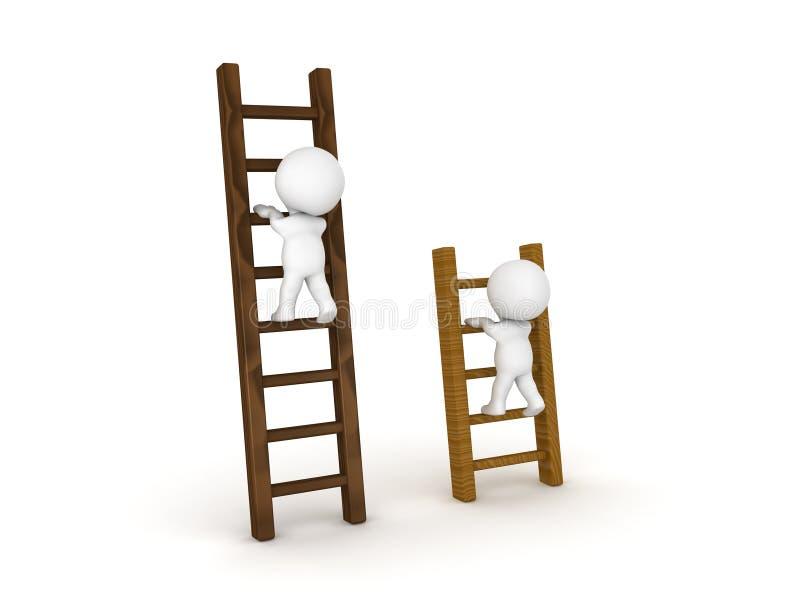 上升在梯子的不同的类型的两个3D字符 皇族释放例证