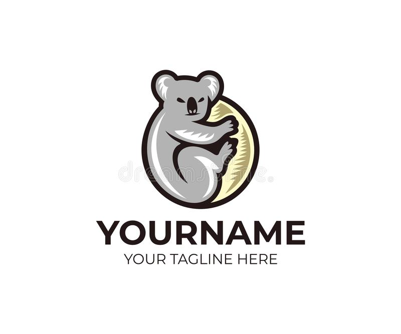 上升在玉树商标模板的考拉 灰色树袋熊传染媒介设计 皇族释放例证