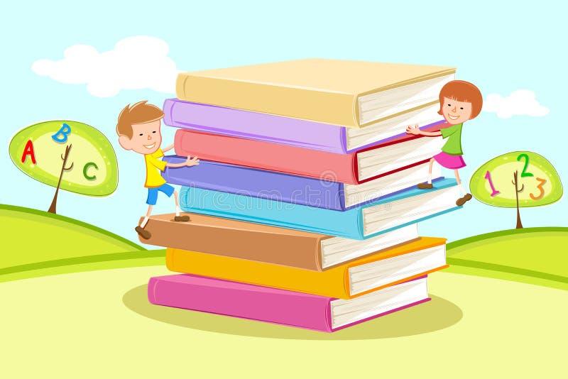 上升孩子堆的书 库存例证
