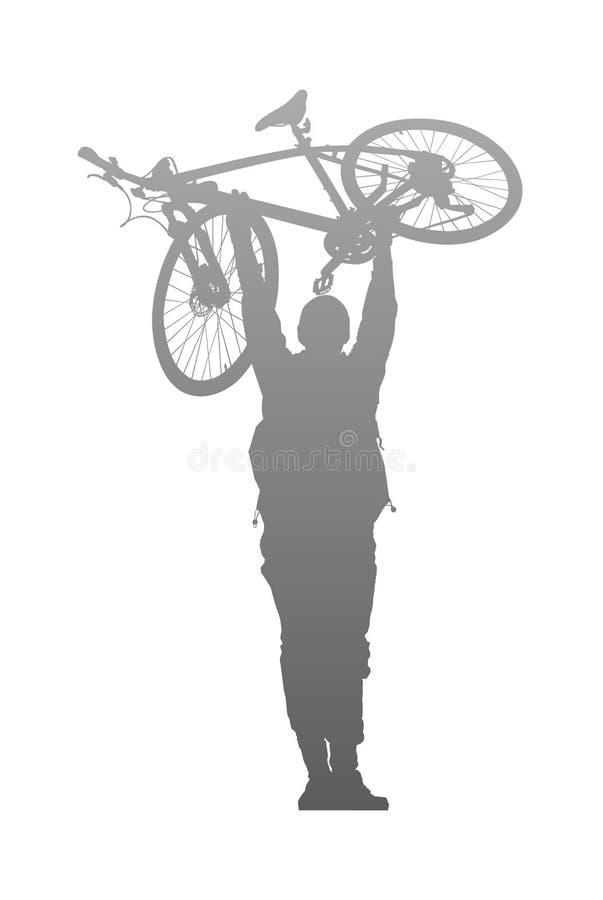 上升的人剪影在自行车上 库存图片