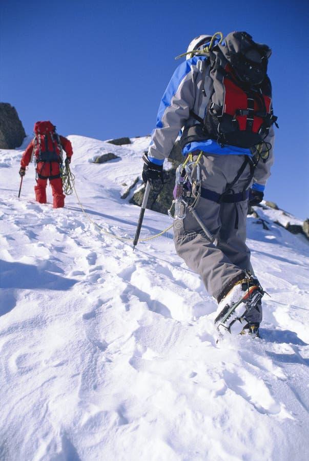 上升的人山峰多雪的年轻人 免版税库存图片