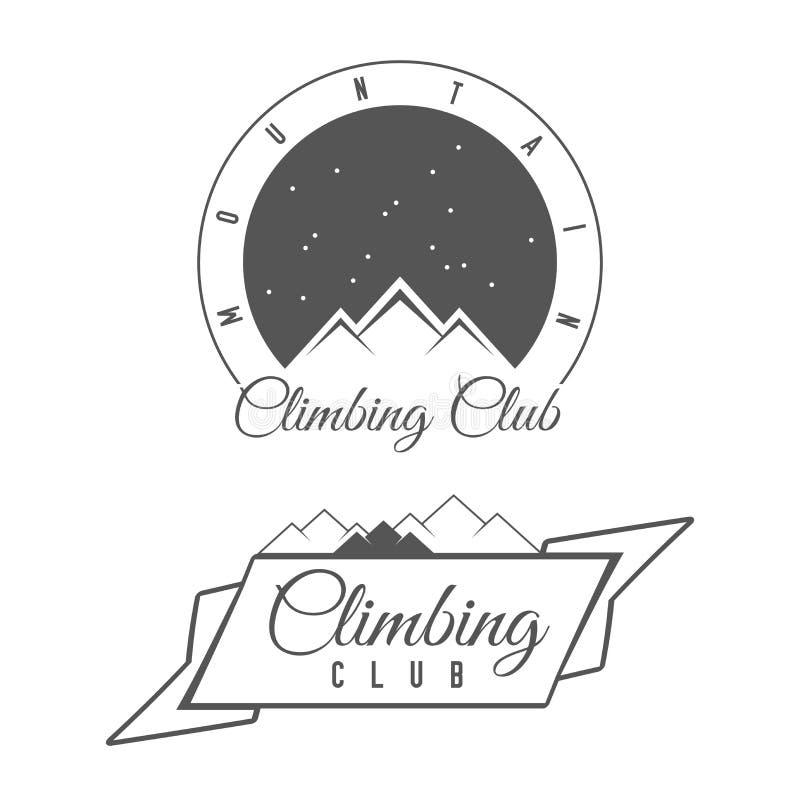 上升的俱乐部-山冒险-高山旅行传染媒介象征-象-印刷品-徽章 皇族释放例证