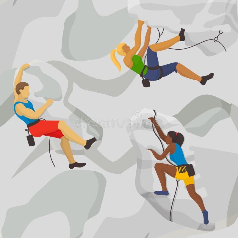 攀岩运动矢量图 极限运动员攀爬 白种人与黑皮肤女孩攀岩 体育 向量例证