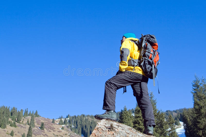 上升的新成人在山顶顶部 免版税图库摄影