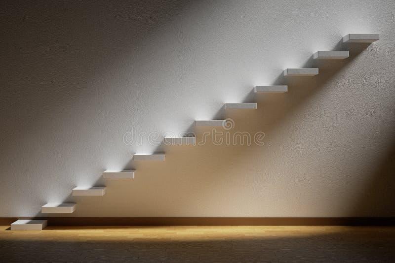 上升的楼梯上升的台阶在有lig的黑暗的空的室 免版税图库摄影