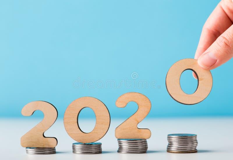 上升的经济数据的新的2020年路线 免版税库存照片