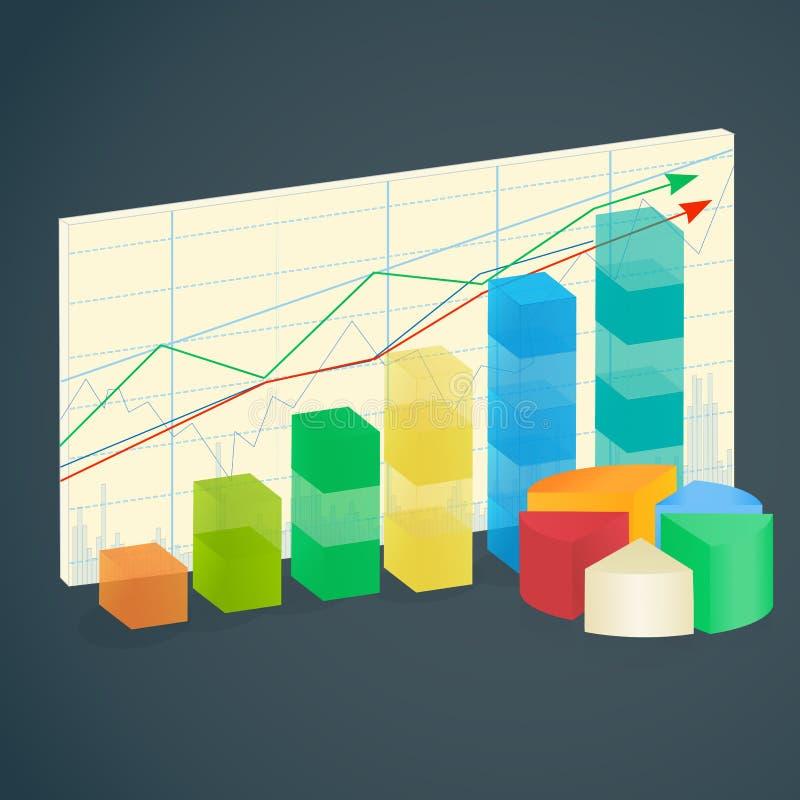 上升的财务长条图infographic为统计、逻辑分析方法、财政报告、介绍和网络设计 皇族释放例证