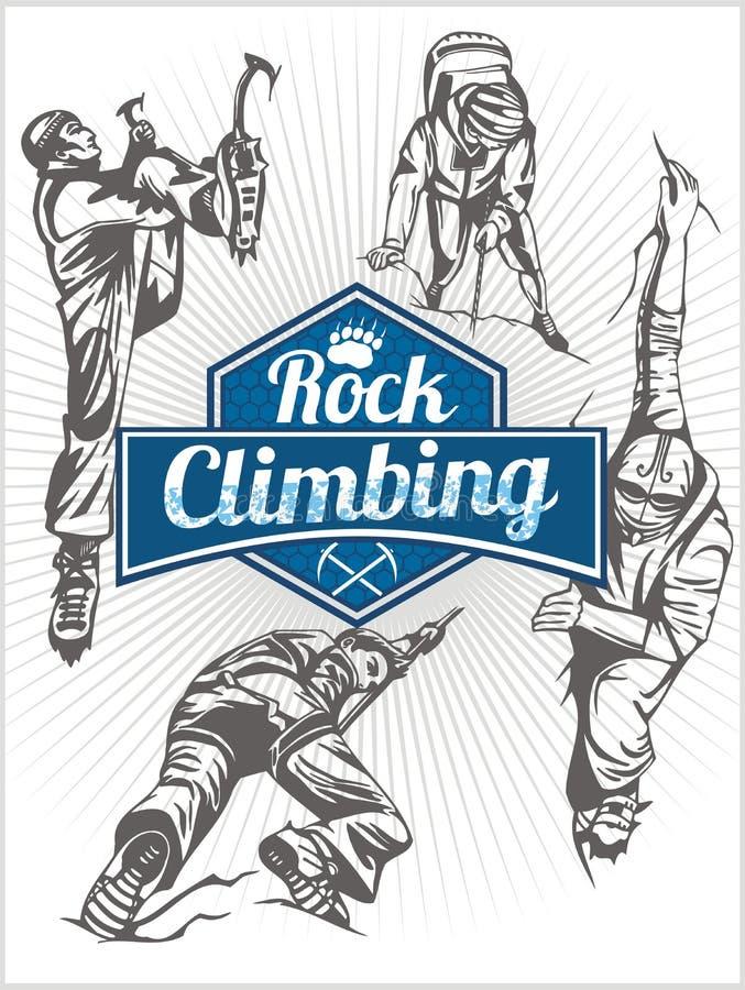 上升的结岩石系住二 被设置的传染媒介-象征和登山人 向量例证