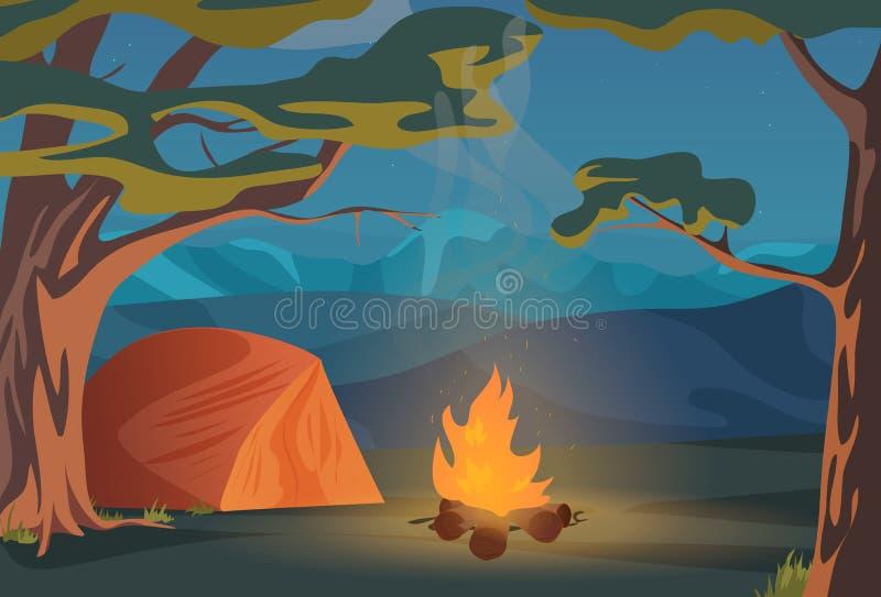 上升,走,远足或体育室外野营的休闲风景,自然冒险假期例证 木头 向量例证