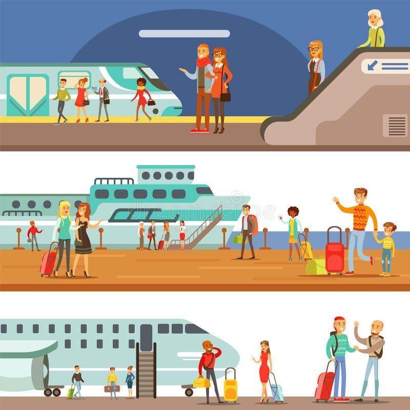 上另外运输、地铁、飞机和船套与愉快的旅客的动画片场面的微笑的人民 向量例证