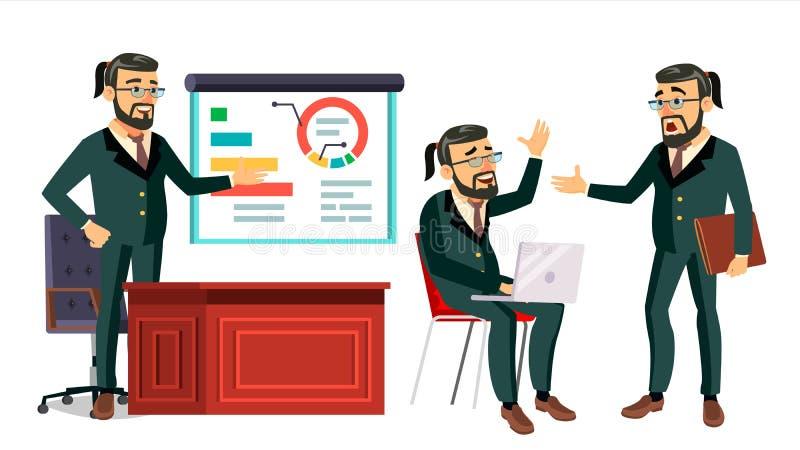 上司运作的字符传染媒介 工作的有胡子的男性 现代办公室工作场所 动画工作 动画片事务 库存例证