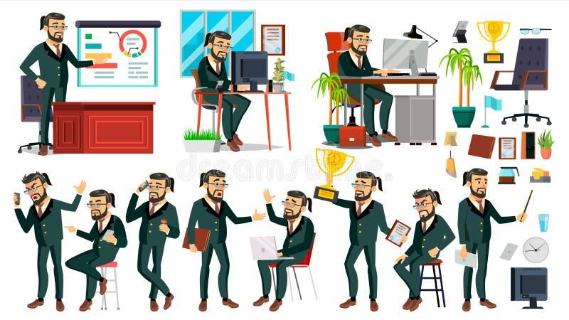 上司CEO字符传染媒介 CEO,总经理,代表性主任 姿势,情感 上司会议 动画片 库存例证