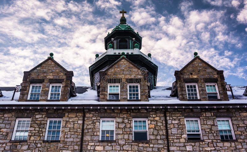 登上圣玛丽的大学的温床,在Emmitsburg, Ma 库存照片