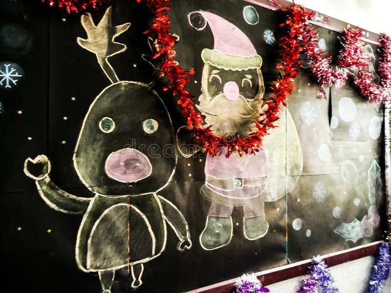 上圣诞节亲爱的信函圣诞老人空间文本对您 库存图片