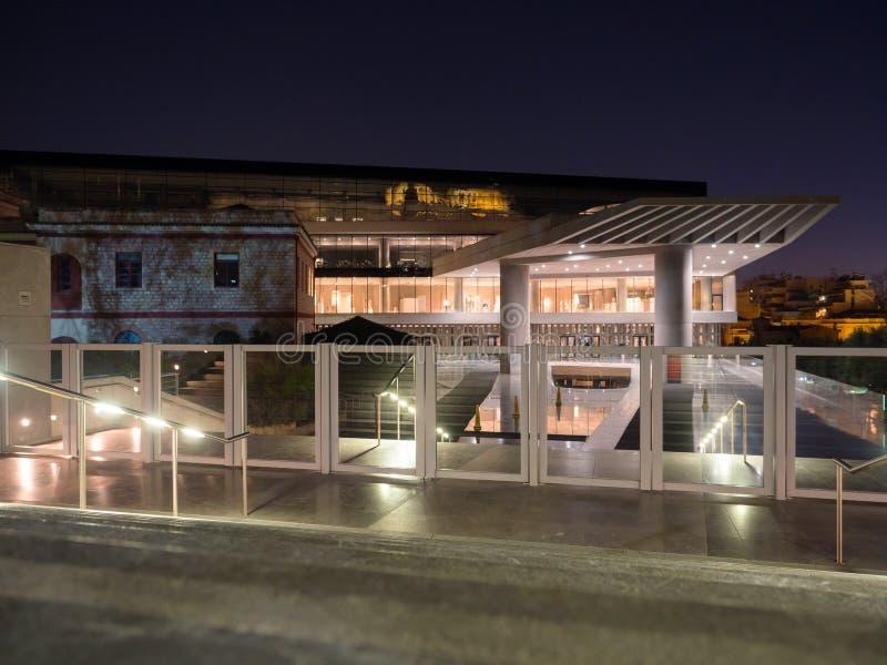 上城博物馆在雅典在晚上 免版税图库摄影