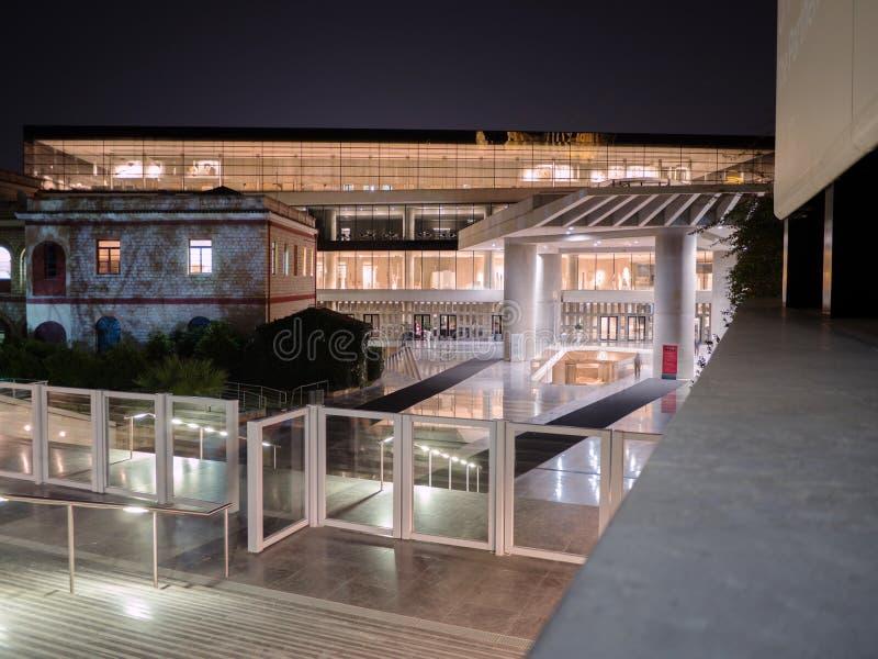 上城博物馆在雅典在晚上 库存图片
