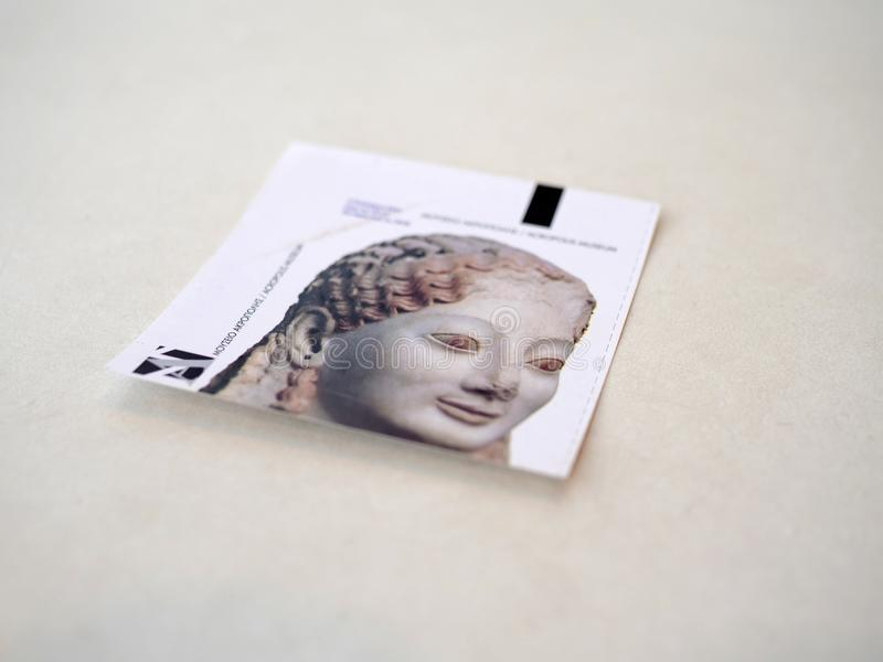 上城博物馆的小册子在雅典 免版税库存照片