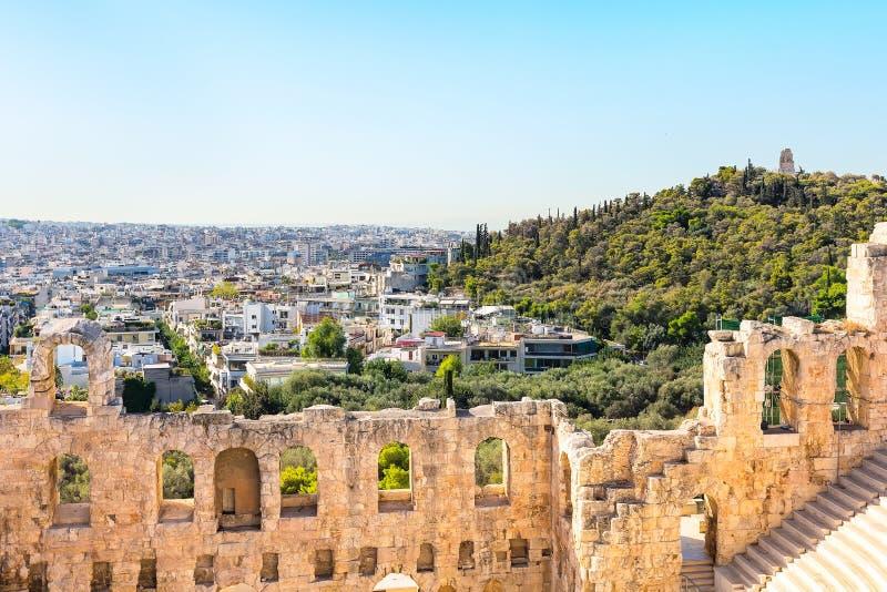 上城圆形剧场在雅典,希腊 库存照片