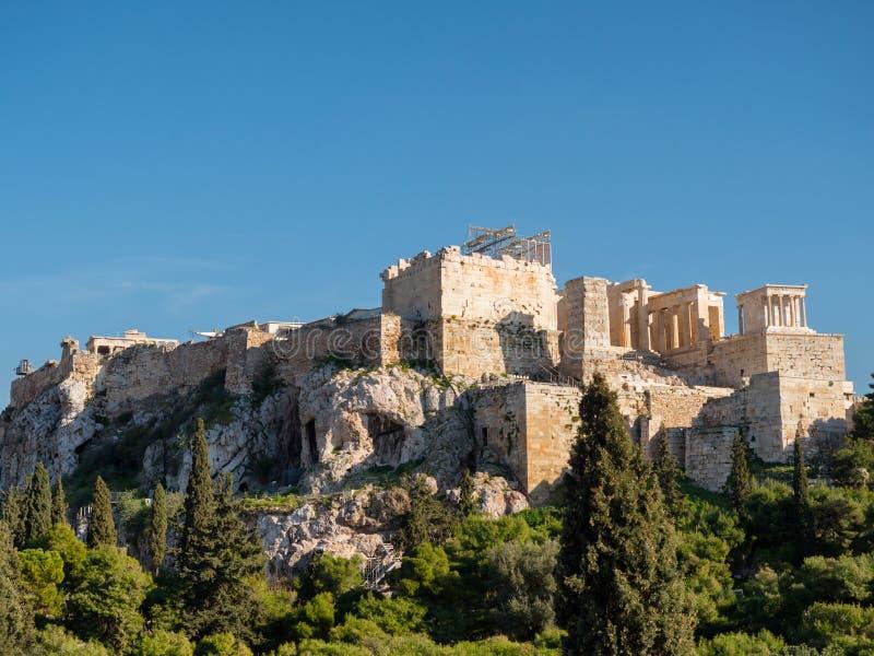 上城小山在雅典希腊 免版税图库摄影