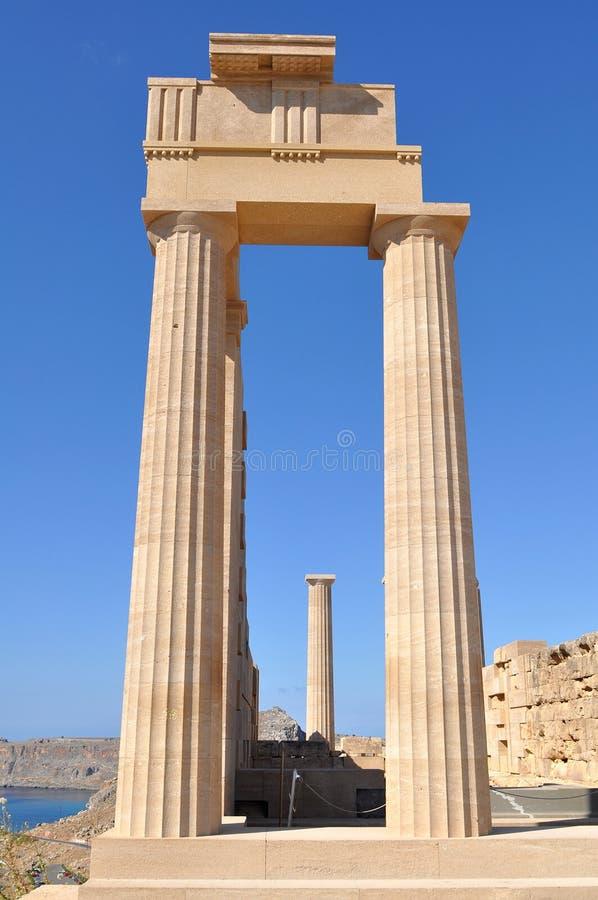 上城希腊海岛lindos罗得斯 免版税库存图片