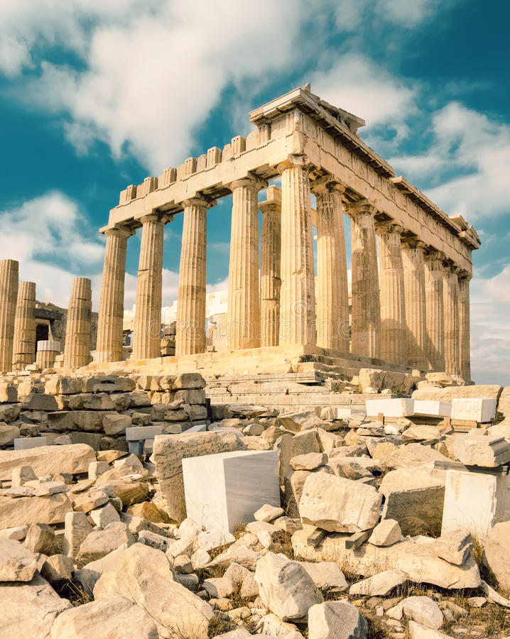 上城的帕台农神庙在雅典,希腊 库存照片