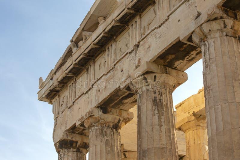 上城的,雅典,希腊帕台农神庙 它是雅典的一个主要旅游胜地 雅典古希腊建筑学在夏天 免版税图库摄影
