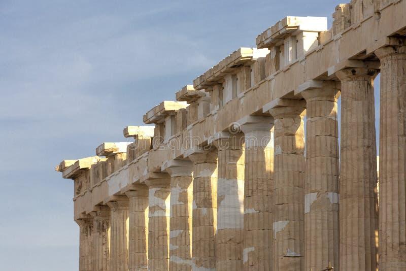 上城的,雅典,希腊帕台农神庙 它是雅典的一个主要旅游胜地 雅典古希腊建筑学在夏天 图库摄影