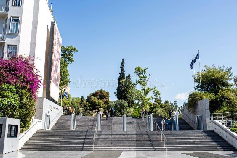 上城雅典博物馆右侧视图 库存照片