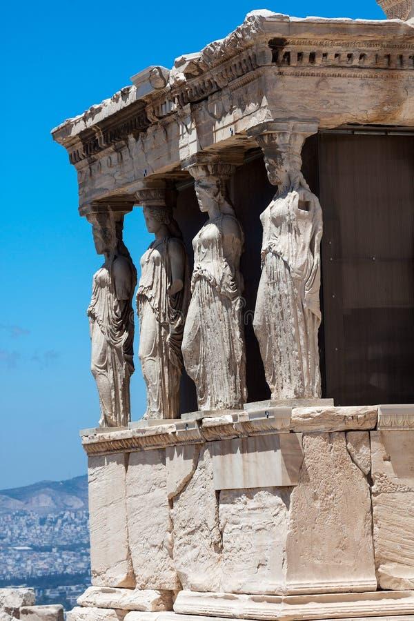 上城雅典女象柱erechteion希腊 图库摄影