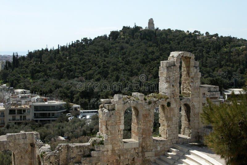 上城雅典herodes otheum 免版税图库摄影