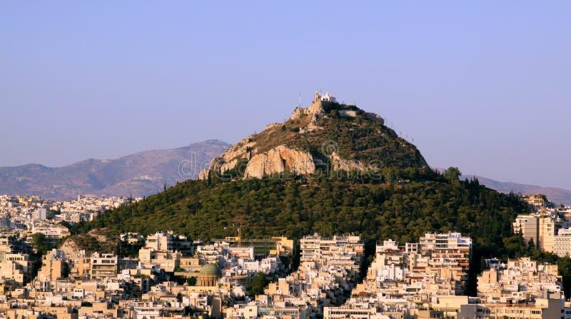 从上城,雅典的Lofos Likavitou 免版税库存照片