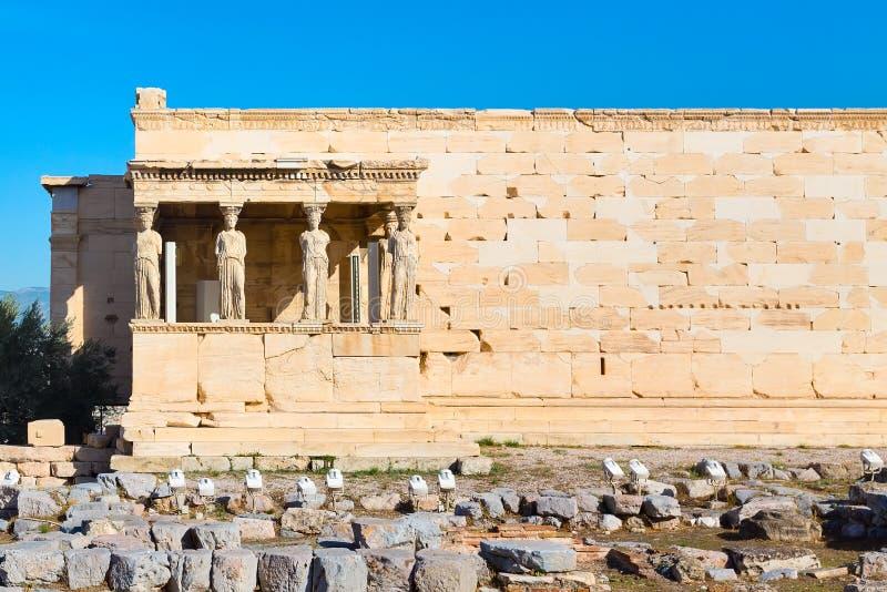上城, Erechtheum寺庙在雅典,希腊 图库摄影