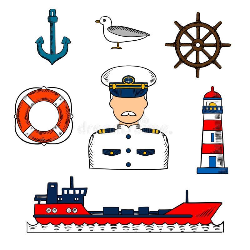 上尉或水手有船舶对象的 库存例证
