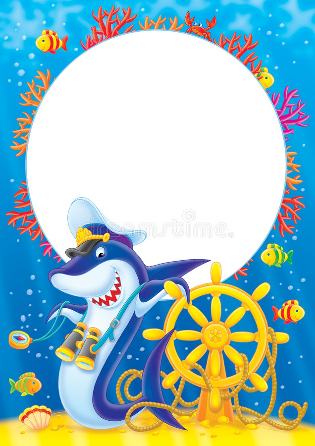 上尉框架照片鲨鱼 皇族释放例证