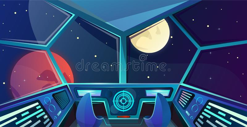 上尉桥梁太空飞船内部有椅子的在动画片样式 与雷达,屏幕的未来派指挥所传染媒介例证 皇族释放例证
