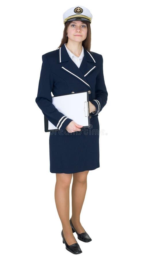 上尉海运严重的片剂统一妇女 免版税库存照片